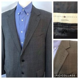 Joseph Abboud 44L Sport Coat Micro Check Wool Gray
